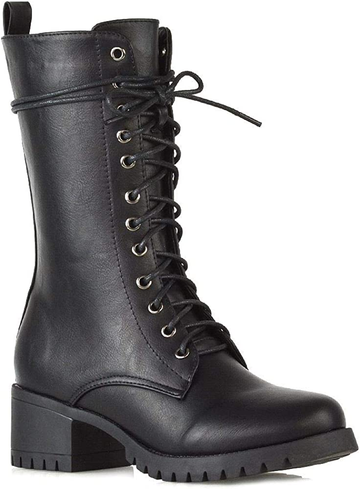 Essex Glam Womens Lace Up Boots Military Chunky Sole Zip Combat