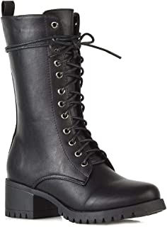 Womens Lace Up Boots Military Chunky Sole Zip Combat Booties