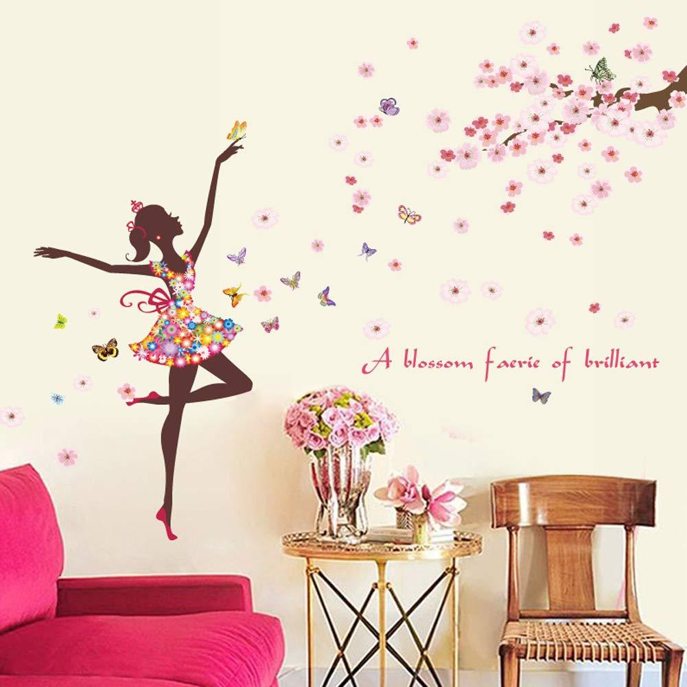 Diy Butterfly Wall Sticker Fairy Flower Girl Wall Decal Vinyl Diy Wall Art Mural Sticker For Kids Room Bedroom Living Room Decoration Buy Online In Aruba At Aruba Desertcart Com Productid 179796597