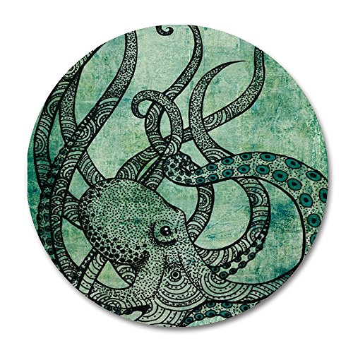 Octopus Round Mouse Pad by Smooffly,Gorgeous Cool Octopus Color Printed Mousepad Round Non Slip Rubber Mouse pad Gaming Mouse Pad