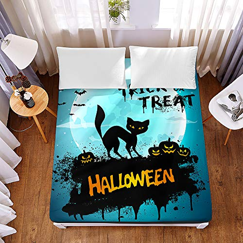 Halloween Printed Fitted Sheets for Single Double King Bed, Chickwin 3D Pumpkin Bedding Sheets Deep Pocket 30cm - Soft Microfibre Easy Care Shrinkage Fade Resistant Devil Basketball 200x200x30cm (Black cat,150x200x30cm)