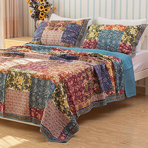 Qucover Tagedecke 100% Baumwolle Bettüberwurf/Sofaüberwurf Patchwork Shabby chic Muster (240 x 260 cm)
