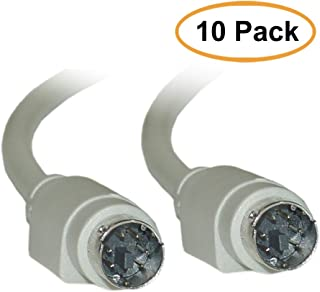 ACL 10 Feet PS/2 (MiniDin6) Male to Male Keyboard/Mouse Cable, 6 Conductor, Straight, Gray, 10 Pack