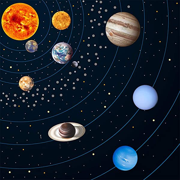 Luminous Wall Sticker Glow In The Dark Moon Stars Wall Stickers Nine Planets Solar System Pattern Wall Decal For Kids Bedroom Living Room Nursery Baby Room Size 2