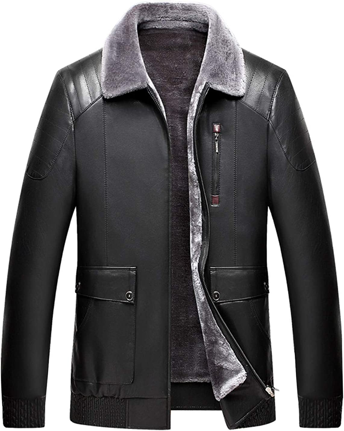 Springrain Men's Warm Front Zip-UP PU Leather Jacket Outerwear with Fleece Lining