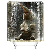 LanLan Duschvorhang mit Elefantenmotiv, wasserdicht, mit 12 Haken, Badezimmer-Zubehör, 180 x 180 cm