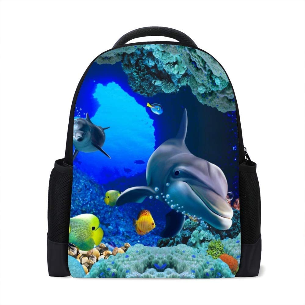 Kuizee Classic Backpack Schoolbag Adjustable Padded Shoulder Straps Daypack Blue Ocean Sea Animal Under Water Shark Fish 3D Casual Bags Durable College Daily 16Inch