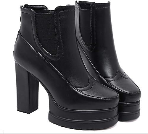 HBDLH zapatos de mujer Martin botas Tacon plataforma Impermeable Dura Cabeza rojoonda Caballero botas De Moda 10 Cm De Tacón Alto botas Cortas negro Treinta Y Siete