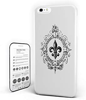 iPhone 6 Case/iPhone 6s Case Fleur De Lis Decor Design Hard Plastic PC Ultra Thin Protective Phone Case Cover Compatible iPhone 6/6s (4.7 inch) Crowns Tiara Iris Flowers Coat of Arms Knigh