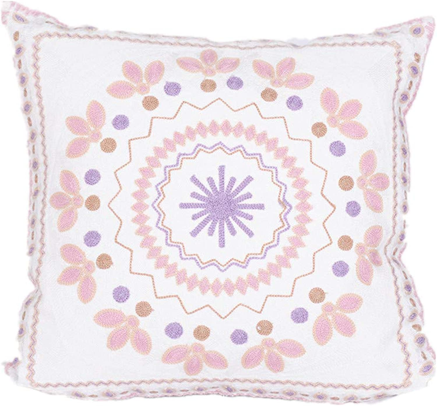 Simple Embroidered Cushion Covers 2 Piece Set Cotton and Linen Living Room Home Decoration Sofa Cushion Office Napping Pillow Car Waist Pad 45X45cm 17X17inch,Flowers2,45X45cm
