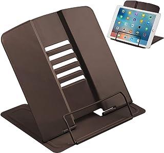 JEEZAO Atril para Libros Metal, Soporte de Libro Tableta Plegable Ajustable de 6 ángulos, Soporte de Lectura para Cocina, Escuela, Oficina (Marron Oscuro)
