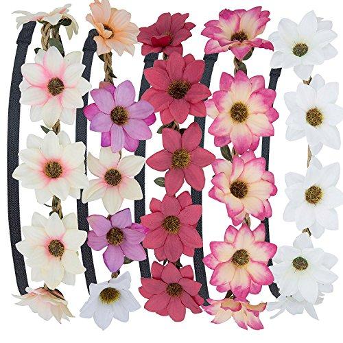 Stirnband Blumen, ZWOOS 5 Stück Stirnbänder Krone Haarband Kopfband Blume Haarbänder mit Elastischem Band für Hochzeit und Party(#3)