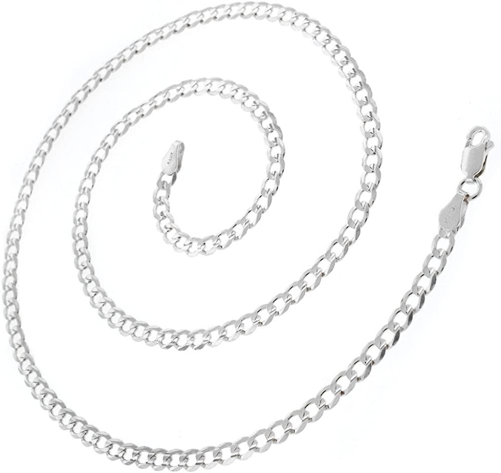 925 Italian Sterling Silver 2mm - 10mm Solid Cuban Chain, FREE M