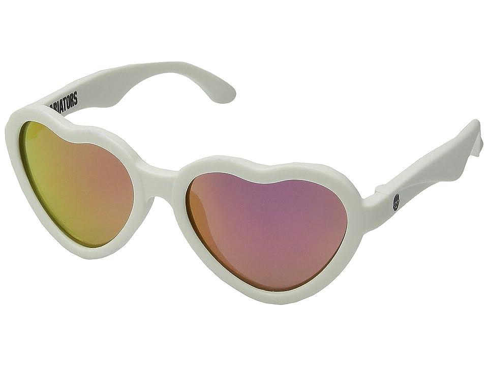 Retro Sunglasses | Vintage Glasses | New Vintage Eyeglasses Babiators Blue Series Heart-Shaped Polarized Sunglasses 3-5 Years White Hearts with Pink Mirrored Lenses Fashion Sunglasses $35.00 AT vintagedancer.com