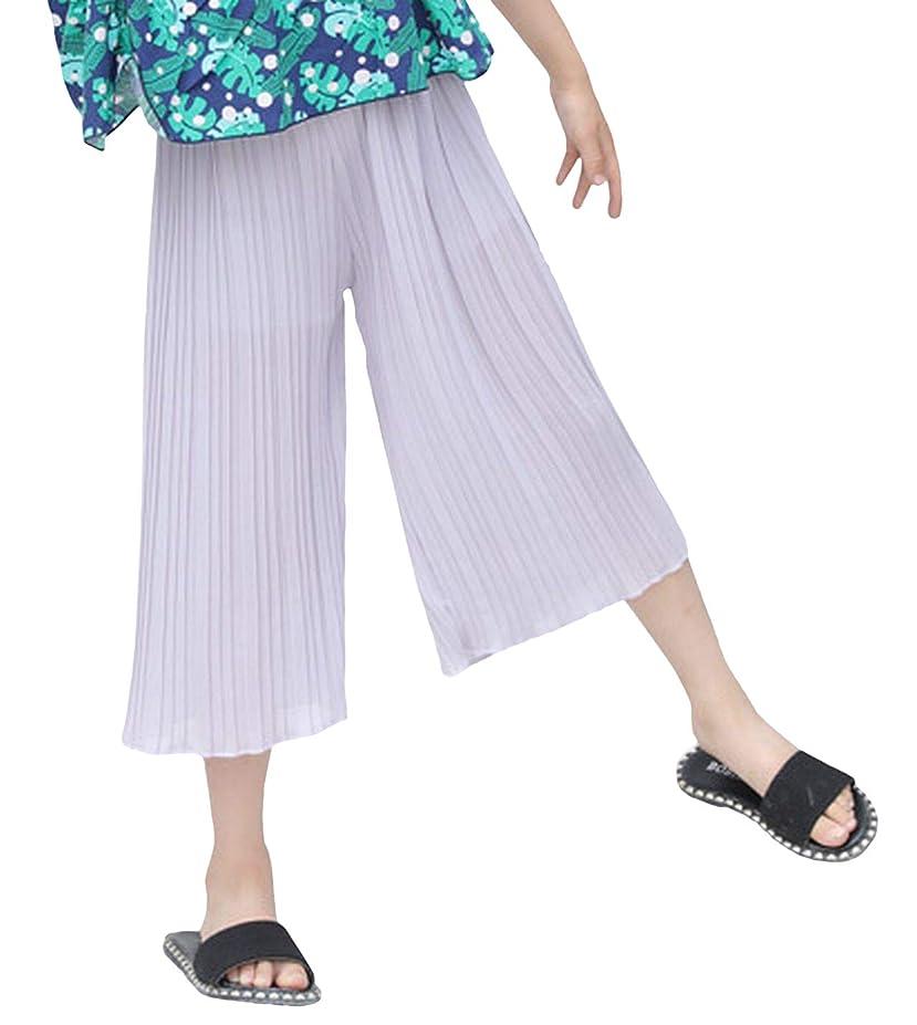 抑圧突然の潮[プチハピ] ふんわり プリーツ ガウチョ パンツ スカーチョ ワイド キッズ