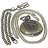 The Nightmare Before Christmas Pocket Watch Bronze Jack with Coffin Carving Slim Chain Cartoon Fans Clock Unique Halloween Gifts 1 PC Necklace 1 PC Clip Key Rib Chain