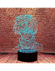 BTEVX My Hero Academia 3D Illusion Shoto Todoroki Lamp LED MHA Anime Night Light Remote Control Decorative Lighting…