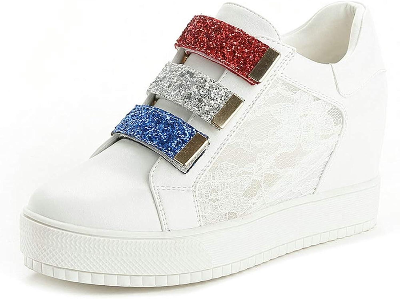 ee106ddda4 U-MAC Womens Flat Hidden Heels Wedge Sneakers Simple Comfortable colorblock  Hook & Loop Round
