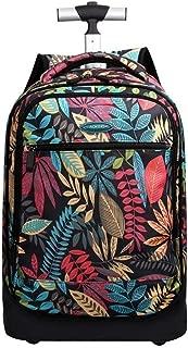 Girls Backpack Trolley, Waterproof Printing Rolling Backpack. (Color : Black)