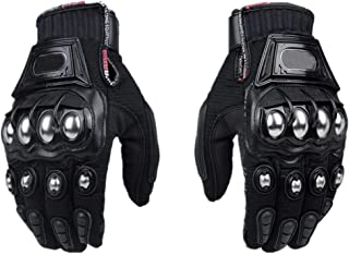 Steel Outdoor Reinforced Brass Knuckle Motorcycle Motorbike Powersports Racing Textile Safety Gloves (Black, Large)