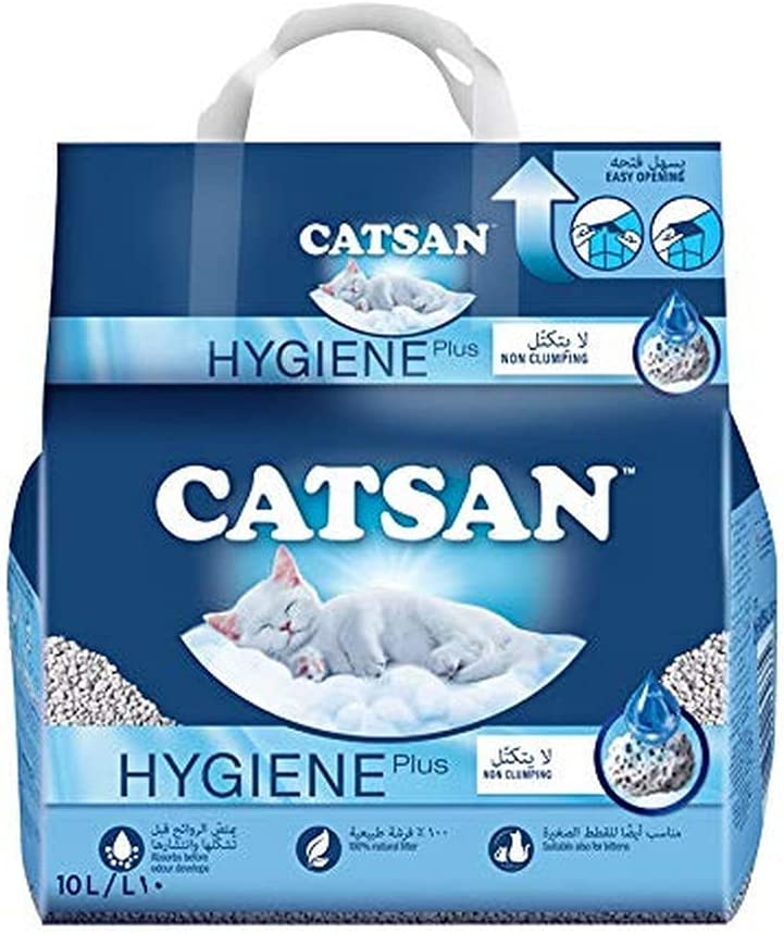 Catsan Hygiene Plus Arena Absorbente para Gatos - 10 l