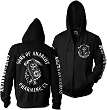 LYLXS Sons of Anarchy brod/é pi/èce Top /à Capuche Sweatshirt Homme Capuche Noir Manches Longues
