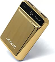 Tech2 Juice Portable Charger, One The Smallest Lightest 10,000 mAh Power Banks, Ultra-Compact, High-Speed Charging Technology 2 USB Ports for iPhone, Samsung Galaxy & More (Gold)