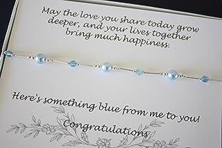 Something Blue Bride Gift Anklet, Sterling Silver and Blue Swarovski Pearl and Crystal Anklet, Wedding