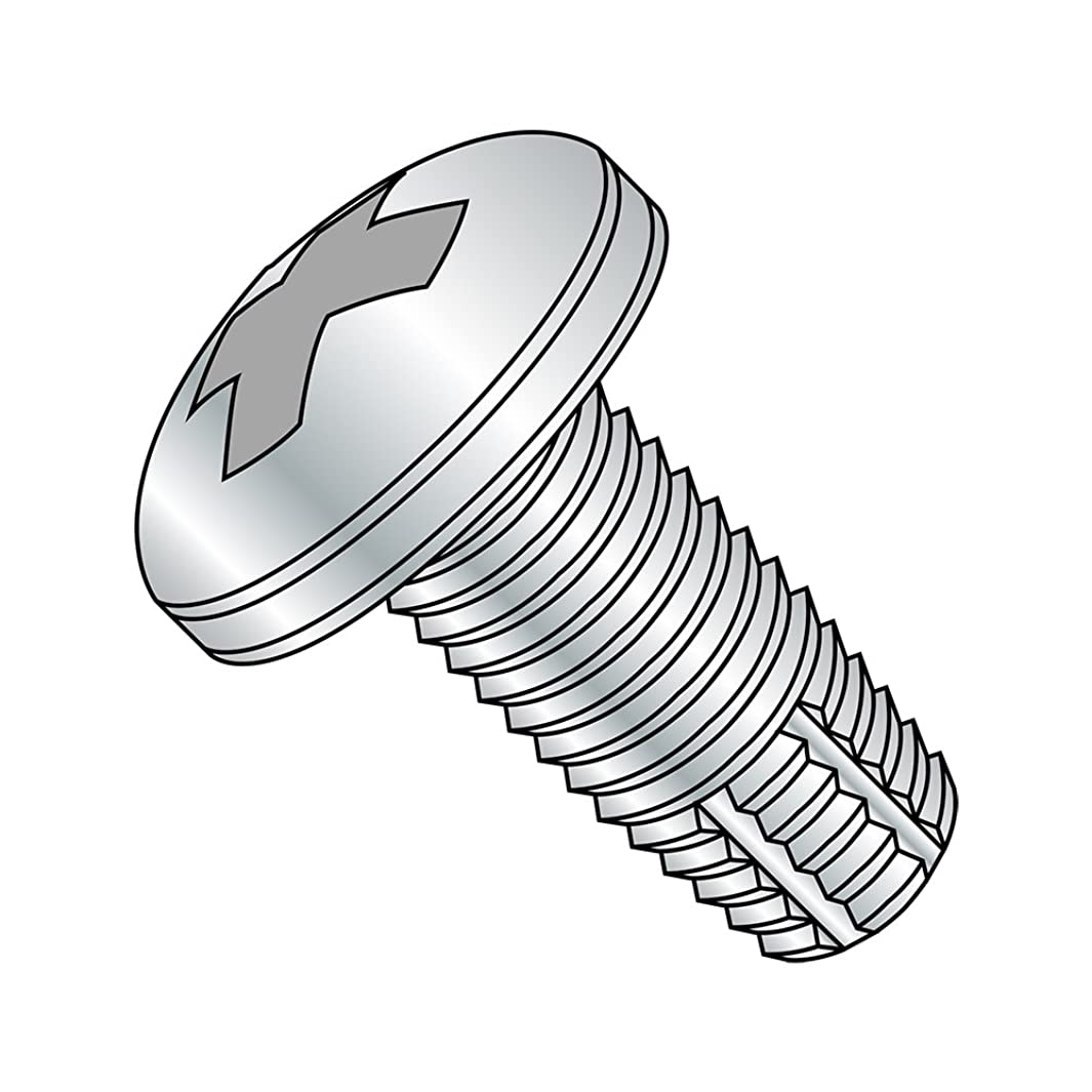 Steel Thread Cutting Screw, Zinc Plated Finish, Pan Head, Phillips Drive, Type F, #8-32 Thread Size, 5/16