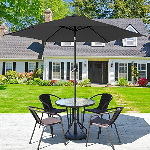 Greenbay 3m Garden Parasol Sun Shade Aluminium UV Outdoor Patio Umbrella With Crank Black
