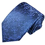 Paul Malone Krawatte 100% Seidenkrawatte blau barock (Überlang 165cm)