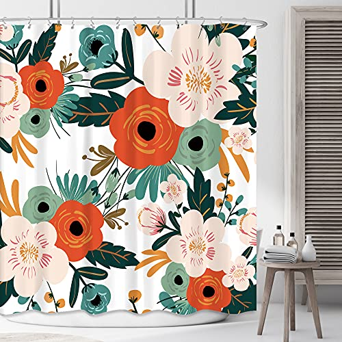 Riyidecor Fabric Spring Flower Shower Curtain for Bathroom Decor 72Wx72H Inch Red Floral Green Leaves Orange Bathtub Accessories Herb Botanical Decorative Set Polyester Waterproof 12 Pack Hook WW-YHX9