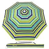 MOVTOTOP Beach Umbrella UV 50+, 6.5ft Umbrella with Sand Anchor & Tilt Aluminum Pole, Portable Beach Umbrella with Carry Bag for Beach Patio Garden Outdoor Blue/Green