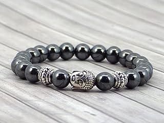 Bracciale da donna Thurcolas etnico Zen in perline nere di ematite e testa di buddha
