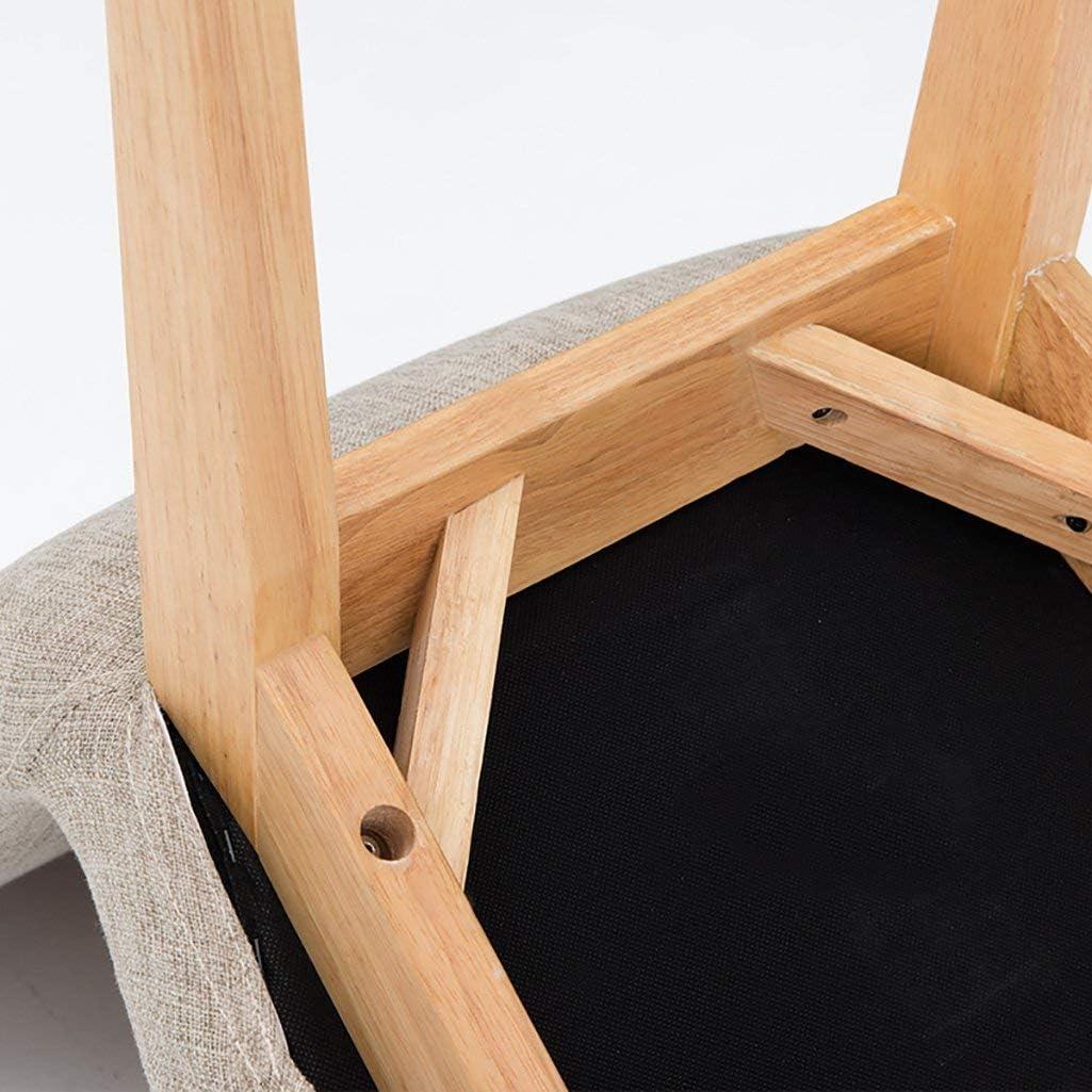 WOZUIMEI Tabouret Tabouret en Bois Massif Tissu Dossier Petite Chaise Simple Chaussure Banc Loisirs Maison Petit Tabouret, B
