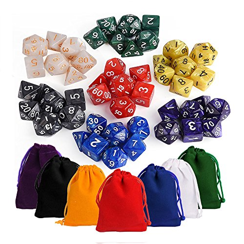 KUUQA 7 x7 (49 Pieces) Dice Sets 7 Colors Polyhedral Dice Table Game Dungeons Dragons DND MTG RPG D20 D12 D10 D8 D6 D4 7-Dice Complete Set Colorful Pouches, Mixed Color