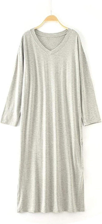 Brave pinkmary Sleepwear Plus Size Night Dress VNeck Nightshirt Long Sleeve Fashion Nightwear Sleep Dress