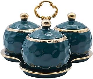 Sywlwxkq Sucrier, boîte d'assaisonnement en céramique, boîtes de Rangement pour Aliments MSG sel Poivre épices Pot Contena...