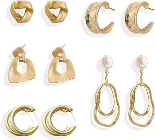 ATIMIGO 5 Pairs Gold Stud Earrings Fashion Metal Hoop Dangle Drop Earrings Jewelry for Women Teen Girls