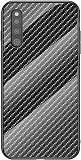 Grandcase Galaxy A41 (EU) Case,Ultra-thin Advanced Carbon Fiber Texture Gradient Scratch Resistant Tempered Glass Back Pro...