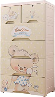 Nafenai 6 Drawer Dresser,Plastic Drawers Storage,Cute Storage Dresser Cabinet with Lock,Chest of Drawers for Bedroom/Playroom Clothes Toys Organizer Armoires,Koala Bear