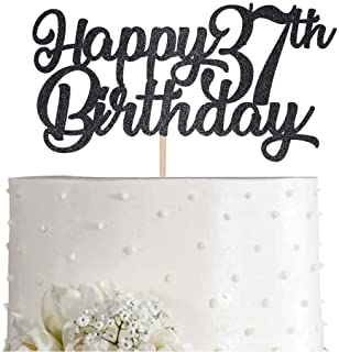Black Happy 37th Birthday Cake Topper, Black Glitter Cheers To 37 Years Party Cakes Decorations, Supply