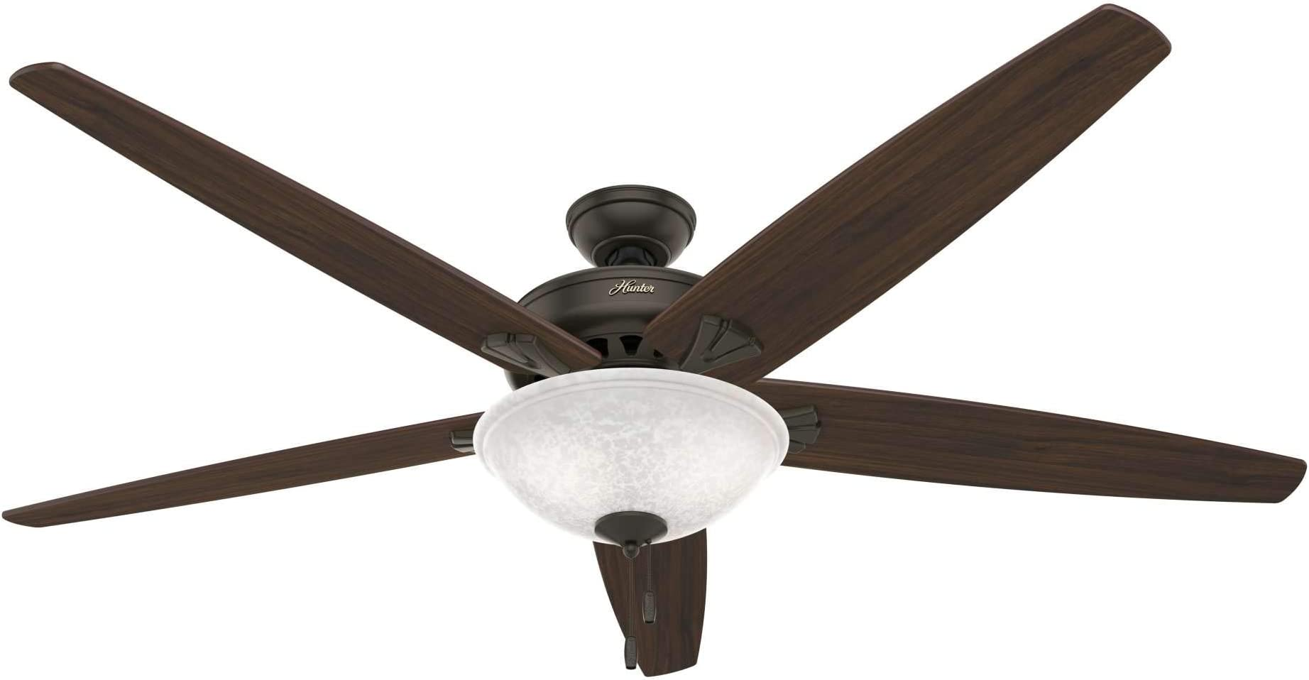 """HUNTER 50472 Stockbridge Indoor Ceiling Fan with LED Light and Pull Chain Control, 70"""", New Bronze"""