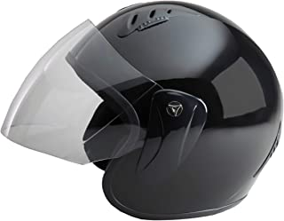 Fuel Helmets SH-WS0016 Unisex-Adult Open Face Helmet with Shield (Gloss Black, Large)