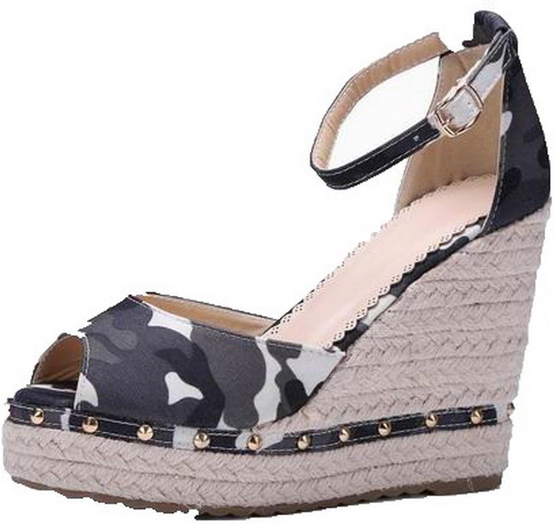 AmoonyFashion Women's High-Heels Pu Assorted color Buckle Open-Toe Sandals, BUTLT007070