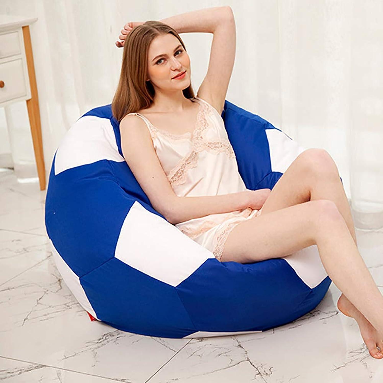 Football Bean Bag Chairs, Lazy Sofa Recliner Tatami Bedroom Floor, Indoor Lounge Recreation Furniture (50-90cm),bluee,70cm