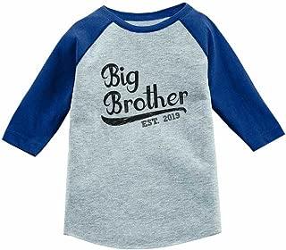 Gift for Big Brother 2019 Sibling Boys 3/4 Sleeve Baseball Jersey Toddler Shirt