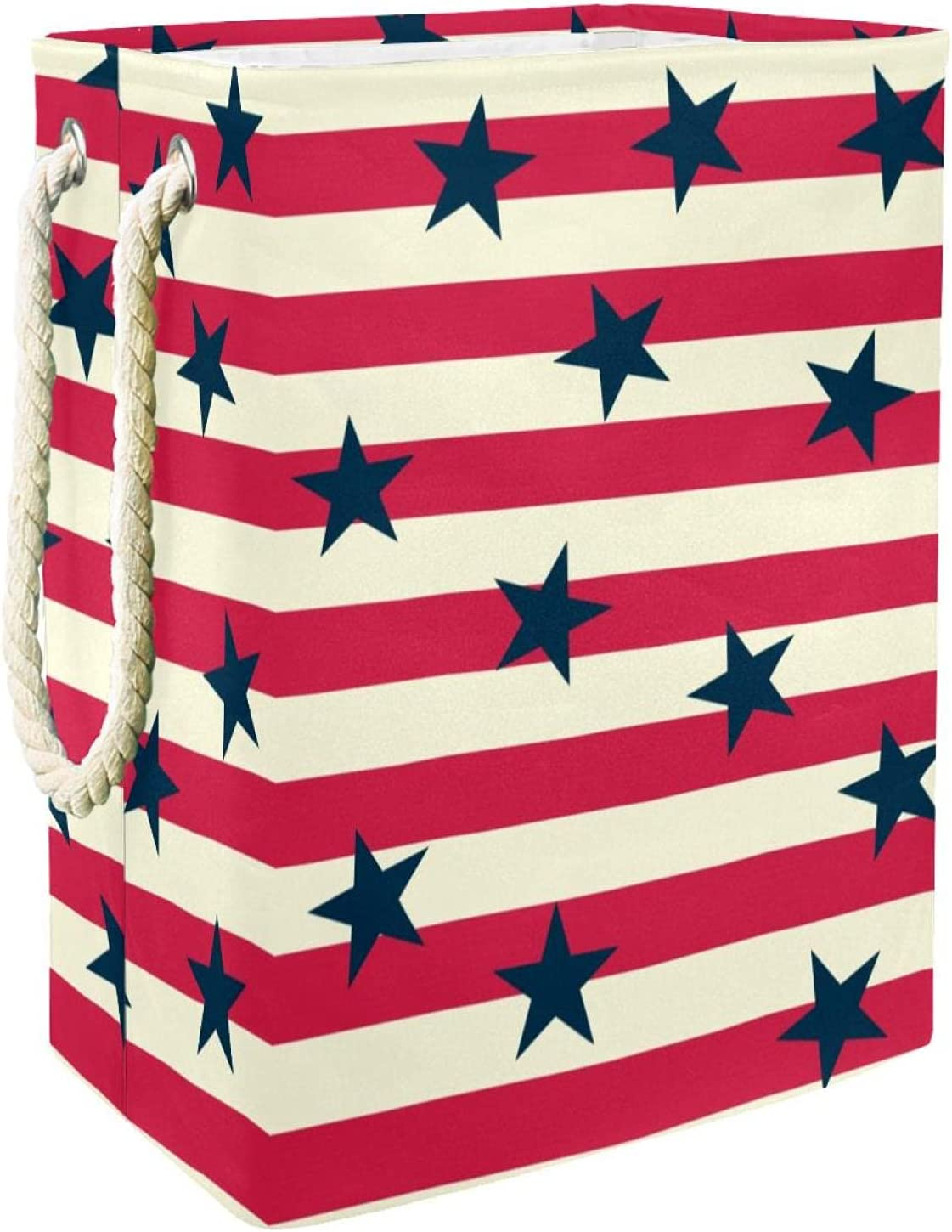 Red White Striped Finally popular brand Navy Max 70% OFF Stars Hamper Handles With Pattern Laundry