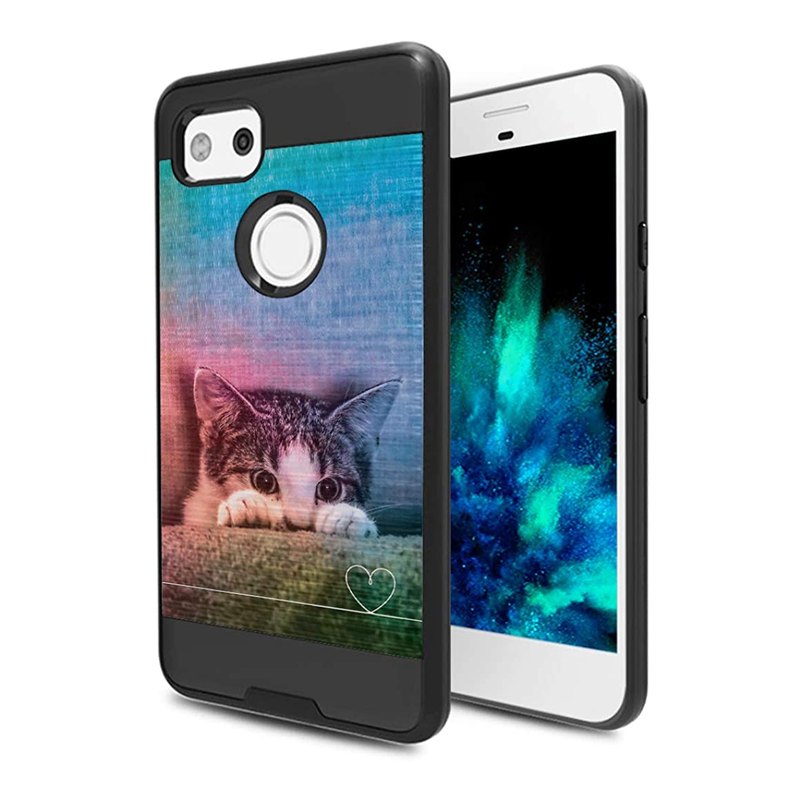 Capsule Case Compatible with Google Pixel 2 XL (2017) [Hybrid Fusion Dual Layer Slick Armor Case Black] for Pixel 2XL- (Kitty Cat)