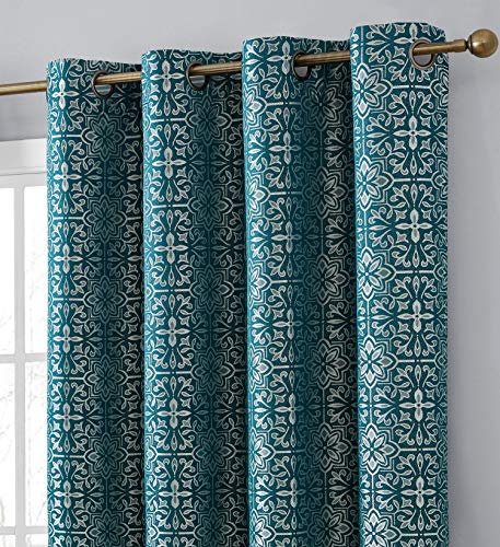 HLC.ME Mia Moroccan Tile 100% Complete Blackout Shading Thermal Insulated Energy Efficient Heat/Cold Blocking Grommet Heavy Curtain Drapery Panels for Living Room, 2 Panels (52 W x 84 L, Teal Blue)
